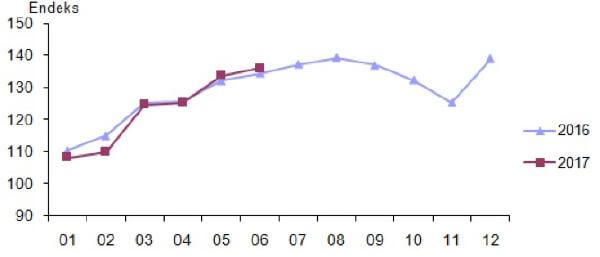 Takvim etkilerinden arındırılmış perakende satış hacim endeksi, Haziran 2017 [2010=100]